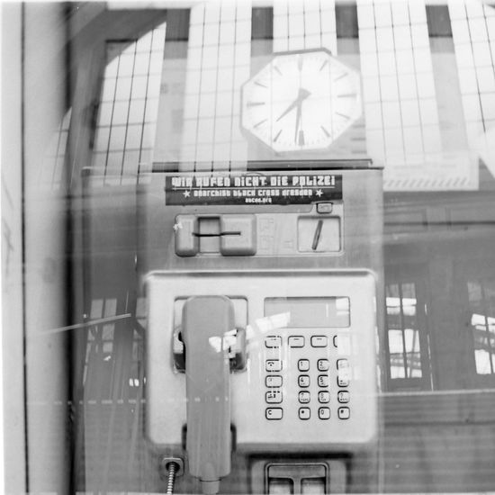 Anarchy in Leipzig. Anarchy Black And White Double Exposure Film Photography Fomapan100 Hauptbahnhof Main Station  Medium Format Pay Phone Sticker Text Xenar 3.5/75mm