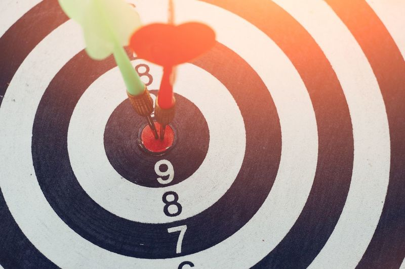 Dart arrow hitting on target center of dartboard Sport Hitting Dartboard Dart Success Perfect Idea Creative Aim Skill  Point Score Competition Strength Strategy Goal Bullseye Achievement Accuracy Focus Mission Business Center Target Circle
