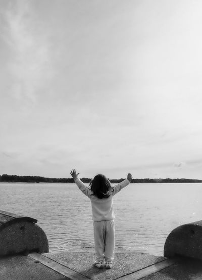 JoY Water Sky One Person Rear View Nature Sea Real People Outdoors Day Tranquility Eye4photography  Photooftheday Picoftheday EyeEm Best Shots Beauty Beauty In Nature Silhouette Scenics Minimalism Lessismore Portrait Daughter Love Joy Happy