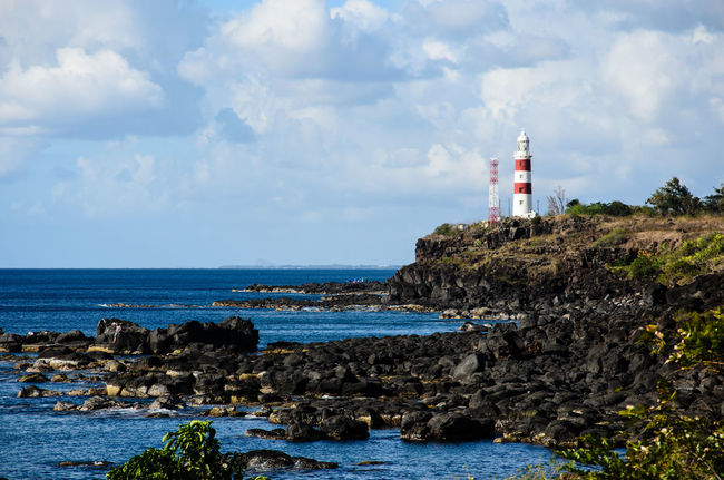 Mauritius Water Ocean Lighthouse Scenic Cloudy