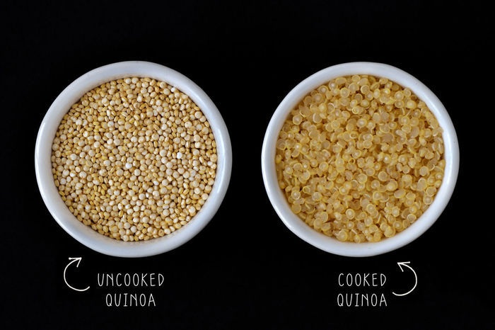 Cooked and uncooked quinoa Eating Gluten Free Natural Quinoa Raw Seeds Vegetarian Food Antioxidant Cereal Plant Cooked Diabetes Fiber Food Grains Health Healthy Ingredient Nutrient Nutrition Organic Protein Superfood Superfoods Uncooked Vegan