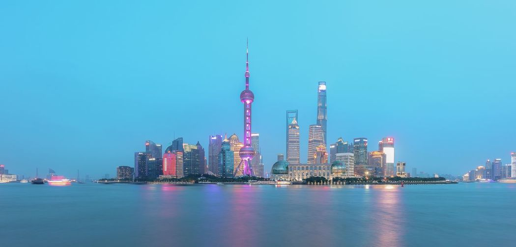 Candy Pudong skyline Pudong Shanghai Office Building Exterior Skyscraper Urban Skyline Landscape Tower Cityscape Travel Destinations Illuminated Night Waterfront Nature Tall - High Modern