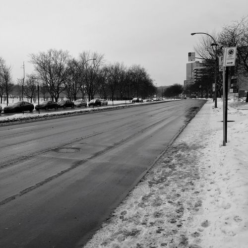 Wet Winter Road Urbanphotography Winter Road Cotedesneiges Montréal Quebec Canada