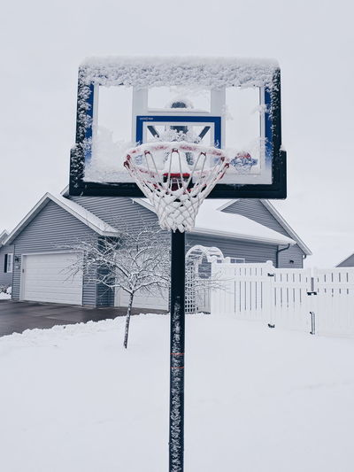 Snow covered basketball hoop Basketball Frost Ice MidWest Basketball - Sport Basketball Hoop Cold Temperature Frozen Nature Outdoors Snow Sport Winter