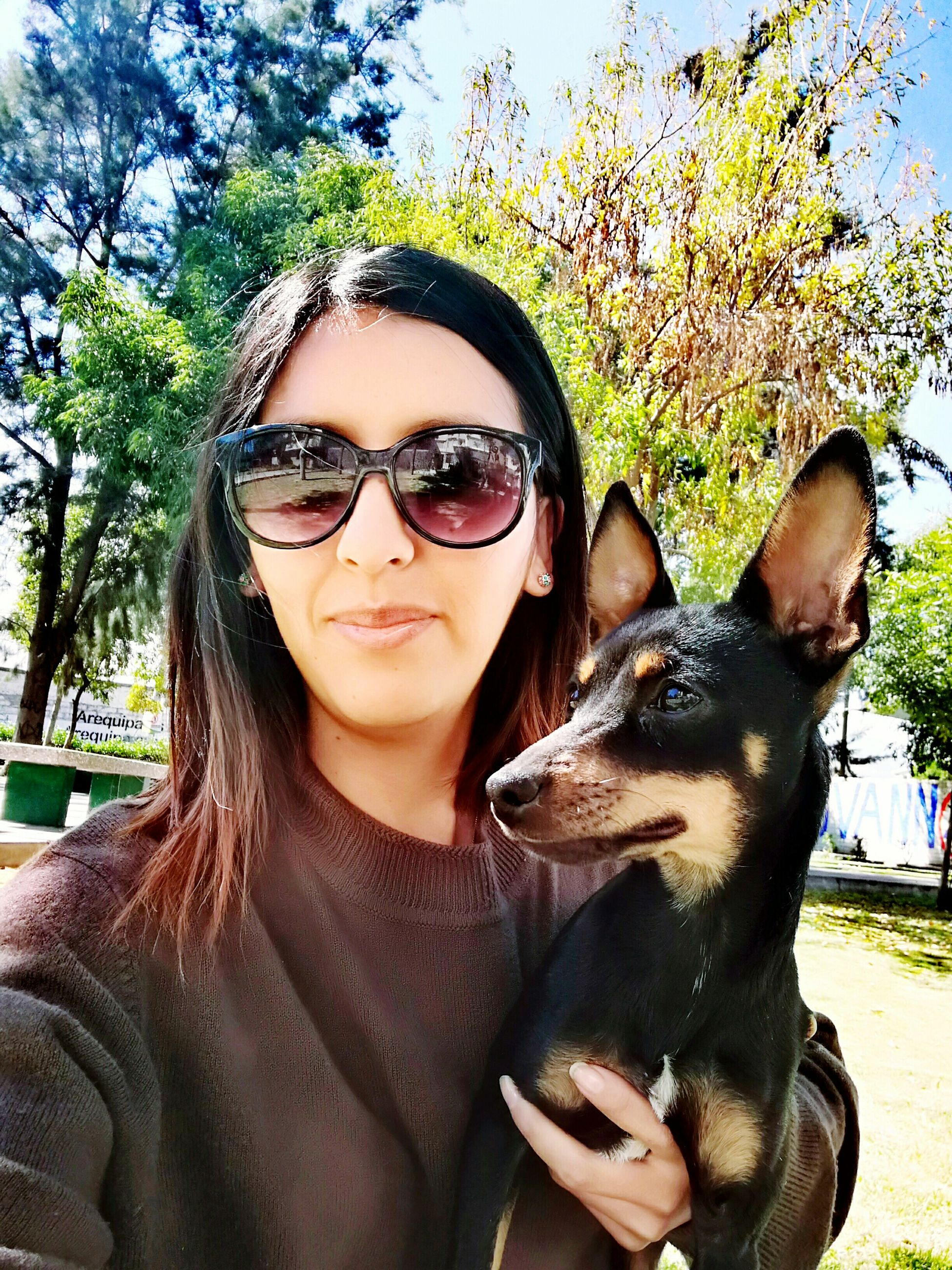 real people, dog, pets, one animal, mammal, sunglasses, animal themes, domestic animals, looking at camera, portrait, young women, day, young adult, lifestyles, bonding, smiling, outdoors, one person, tree, nature