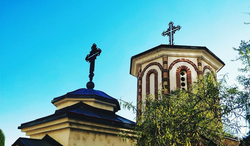 Monastery Crosses Architecture No People Built Structure Low Angle View Religion Day Sky Outdoors Clear Sky Building Exterior Macedonia Struga