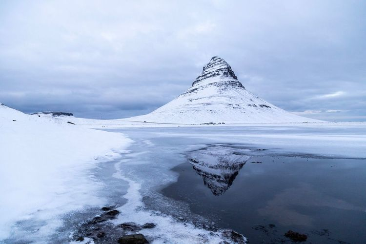 Iceland Kirkjufell Mountain Kirkjufell Cold Temperature Winter Beauty In Nature Scenics - Nature Sky Environment Landscape Cloud - Sky Water Mountain Nature Frozen Snowcapped Mountain Travel Ice No People First Eyeem Photo