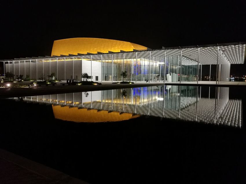National theatre Night Reflection Water Travel Destinations Architecture Outdoors No People Illuminated Architecture Bahrain National Museum