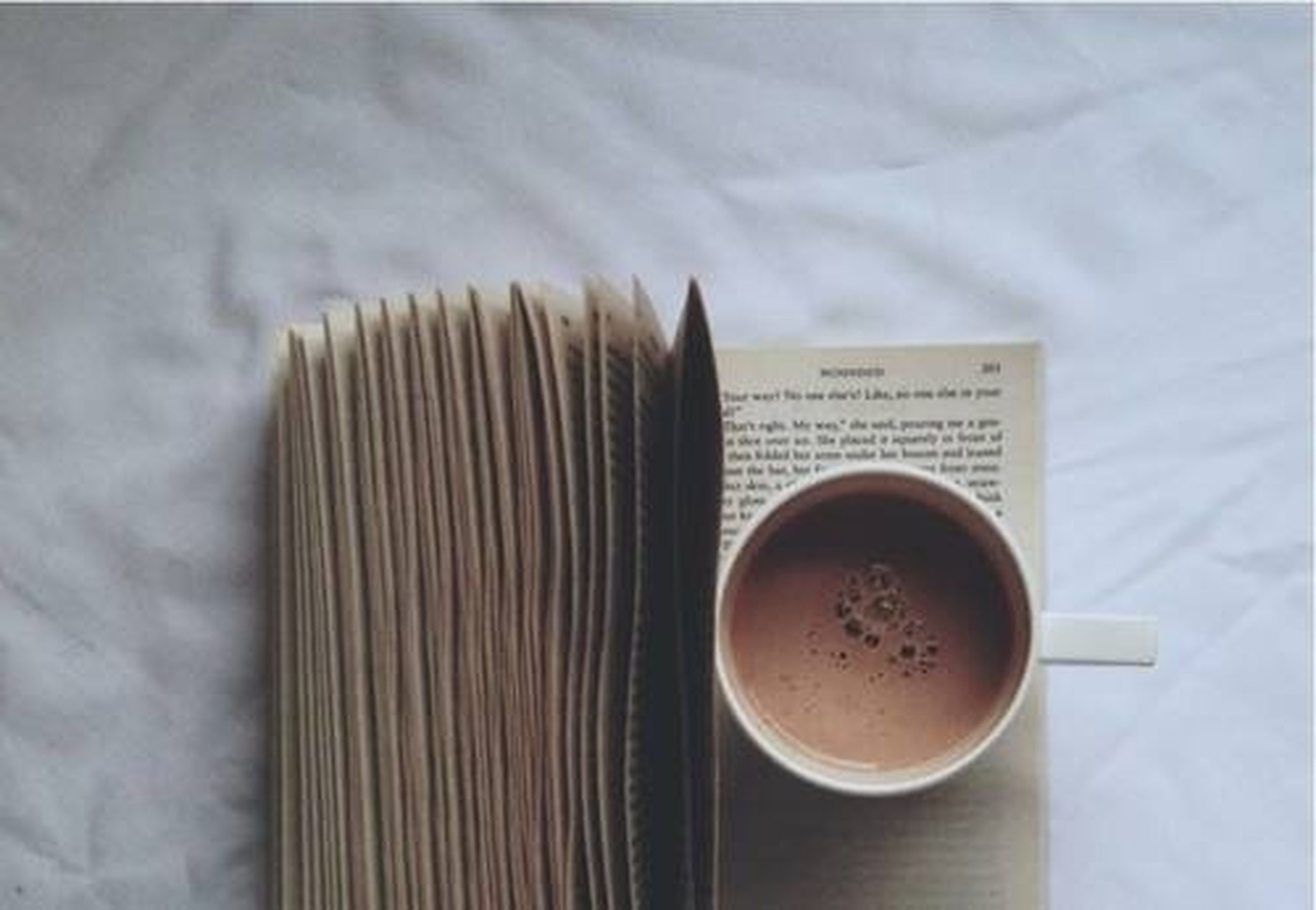 indoors, coffee cup, food and drink, drink, still life, coffee - drink, table, refreshment, coffee, close-up, freshness, cup, communication, saucer, high angle view, text, frothy drink, western script, spoon, book
