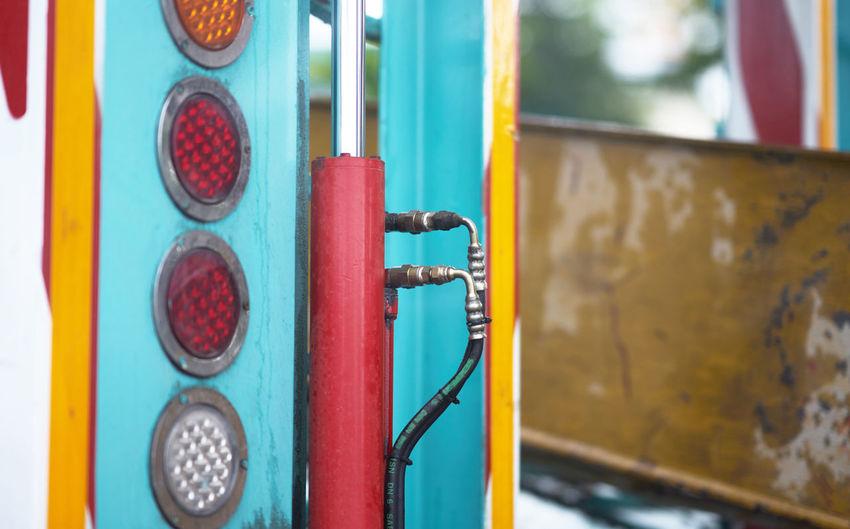 Close-up of multi colored metal door