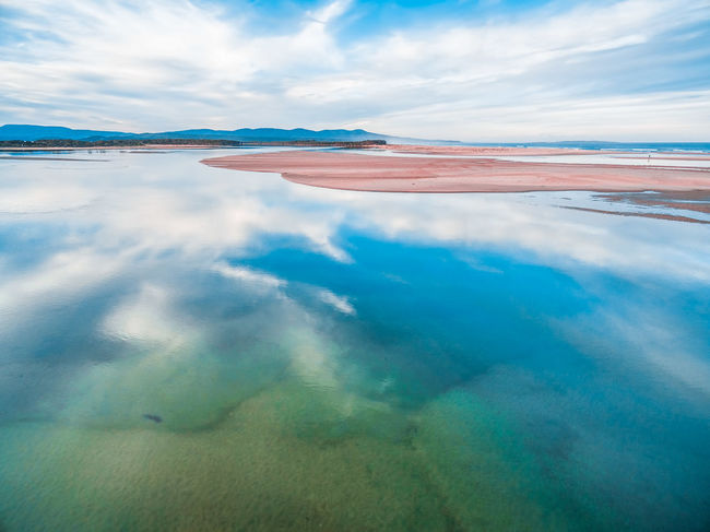 Aerial landscape - beautiful sky reflecting in shallow ocean water. Minimalistic landscape with copy space Australia Australian Landscape Beautiful Panorama Panoramic Beauty In Nature Cloud - Sky Day Nature No People Outdoors Scenics Sea Sky Tranquil Scene Tranquility Water