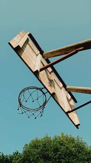 Low angle view of basketball hoop against clear sky