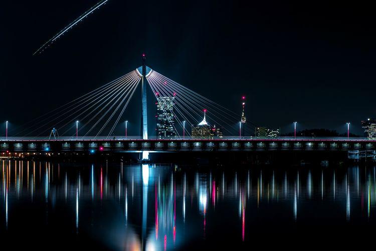 Skyline behind a bridge