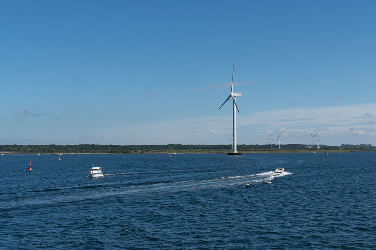 Nature Day Outdoors Summer Blue Copy Space Docks Sky Industry Business Environmental Conservation Wind Turbine Fuel And Power Generation Waterfront Renewable Energy Turbine Wind Power Water Beauty In Nature Sea