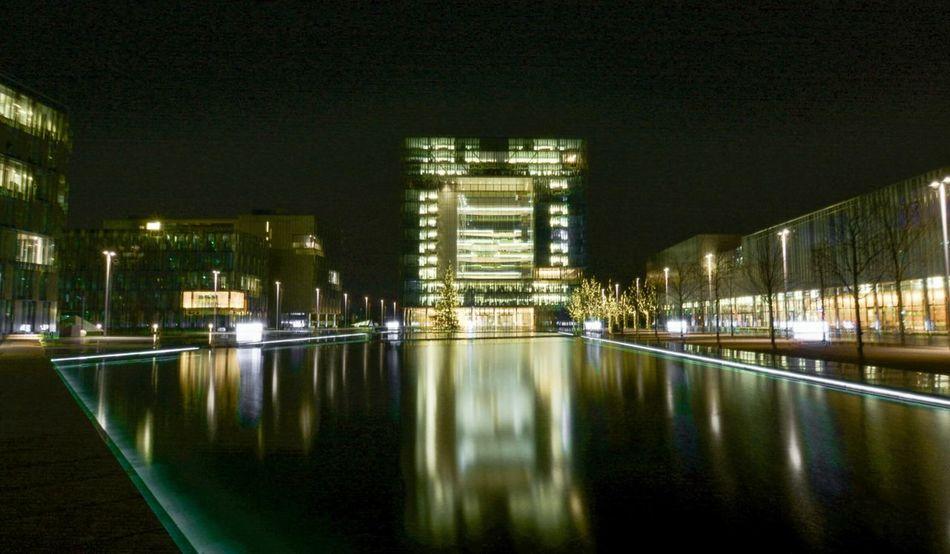 Cities At Night Essen,Germany Thyssen Krupp Headquarter Quartier Architecture Spiegelung At Night🌙 Langzeitbelichtung