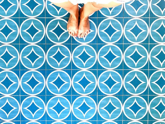 I Have This Thing With Floors Beach Blue Barefoot Pattern Symmetry Backgroud / Cancun Mexico / 2017 Vacations