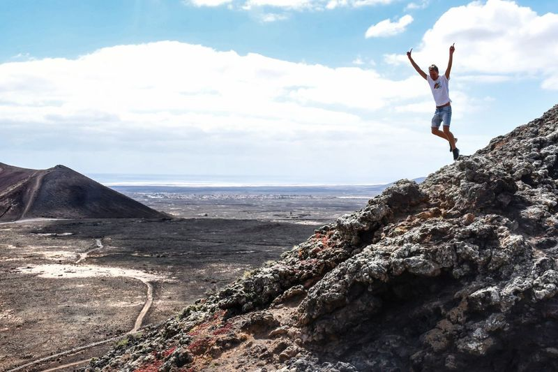 Just jump...life is now ! Outdoors Volcanic Landscape Canary Islands Fuerteventura Free Freedom Point Of View Jump People Landscape #FREIHEITBERLIN