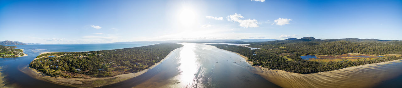 360 aerial panorama of Swanwick Bay and surroundings, near Freycinet National Park, Tasmania, Australia Aerial Shot Australia Australian Landscape Drone  Landscape_Collection Panorama Panoramic Aerial Aerial View Beauty In Nature Beauty In Nature Blue Cloud - Sky Day Drone Photography Dronephotography Freycinet National Park Landscape Landscape_photography Mountain Mountain Range Nature No People Outdoors Panoramic Scenics Sky Sunlight Tasmania Tasmania Australia TasmaniaAustralia Tasmanian Landscape Travel Destinations Water