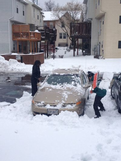 Hanging Out Cleanin Off The Car Snow Work
