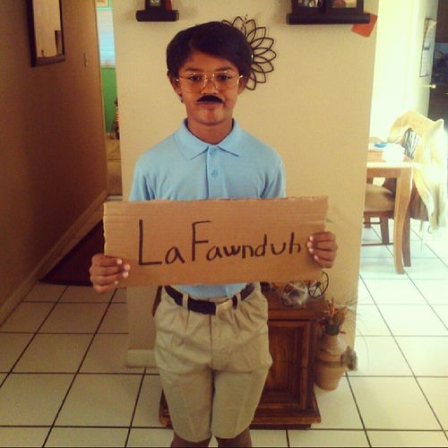 My son as Kip Napoleondynamite Dontbejealous Ivebeenchattingonline withbabesallday Halloween