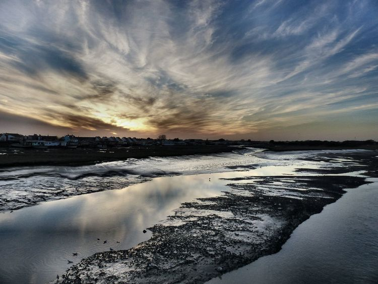 A view across the River Adur towards Shoreham Beach, West Sussex - December 2016. England, UK Reflection West Sussex Beauty In Nature Cloud - Sky Reflections In The Water River River Adur Scenics Shoreham Water