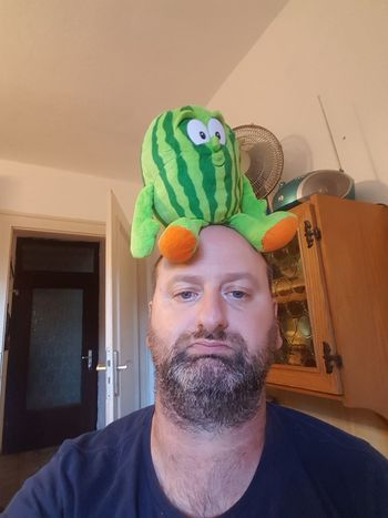 Melon on my head Grazy :) Mad Portrait Science Headshot Men Domestic Life Beard Space Smiling Front View