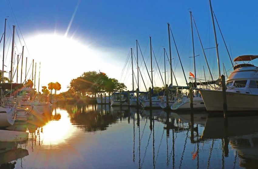 Sunrise on Safety Harbor Sailboats. Sun Blue Moored Harbor