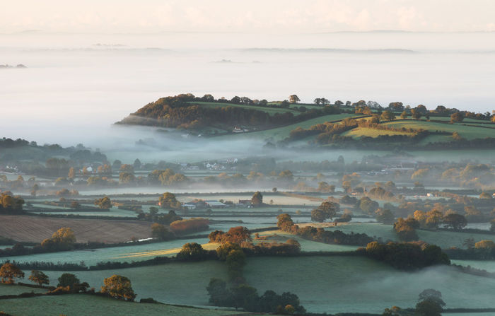 Mists over Somerset in the UK Beauty In Nature Cloud - Sky Day Glastonbury Idyllic Landscape Nature No People Outdoors Scenics Sky Somerset Somerset England Somerset Levels Uk In All Its Glory Tranquil Scene Tranquility
