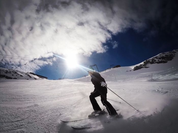 Snow Winter Mountain Skiing Nature Sky Beauty In Nature Lens Flare Sunlight Adventure