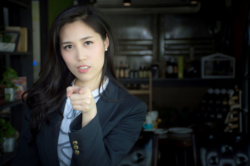 Portrait of woman gesturing
