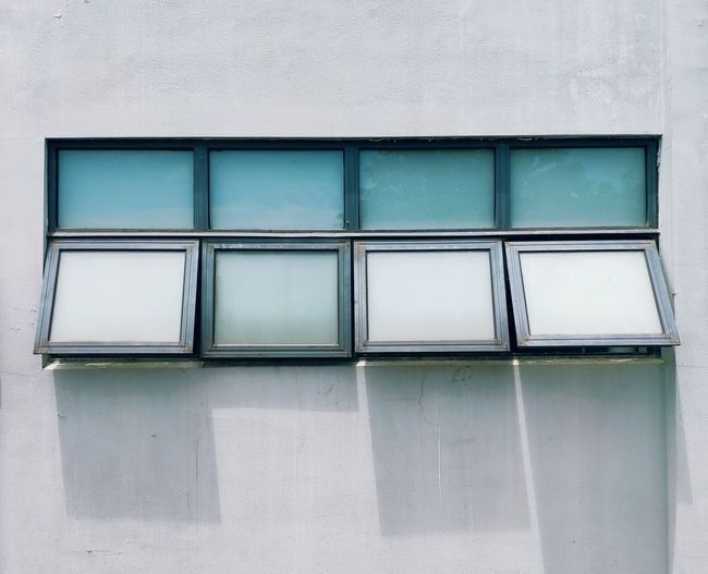 Low angle view of windows on building