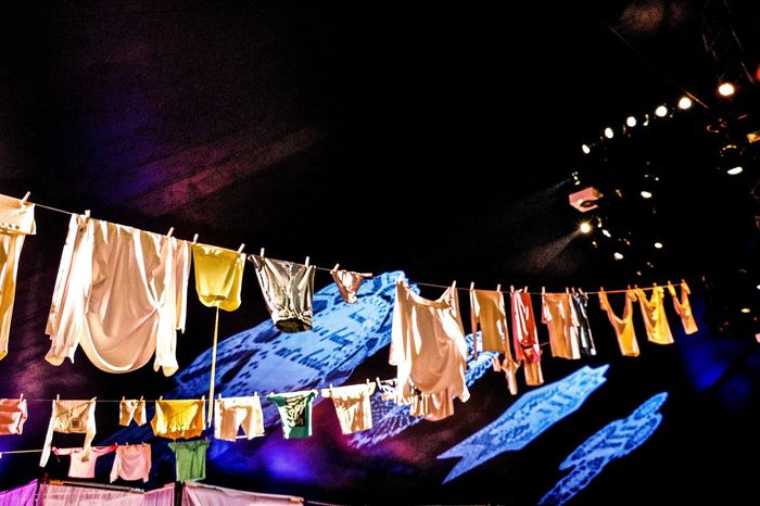 Clothes Clothesline Clothing Line Drying Hanging Illuminated Indoors  Tollwood Tollwood Festival