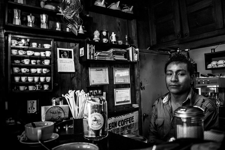 Barista from Antigua Antigua Guatemala Coffee Guatemala Adult Barista Cafe Coofeeshop Day Drink Food And Drink Industry Indoors  Occupation One Man Only One Person Only Men People Store Young Adult