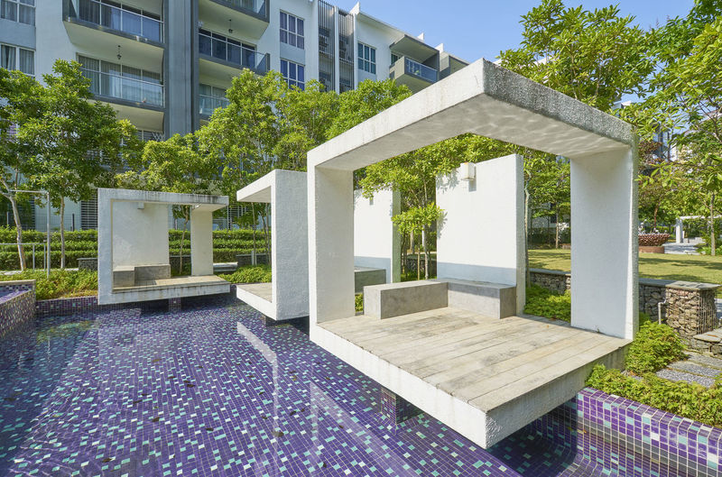 Architectural Column Architecture Building Building Exterior Built Structure Day Front Or Back Yard Grass House Luxury Modern Nature No People Outdoors Plant Seat Sky Sunlight Tree Water