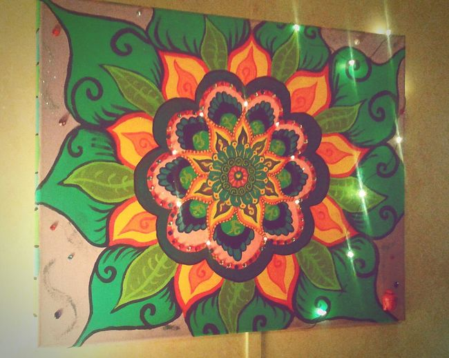 Gypsy Girl Doghairstudio Handmade Art Is Life Gifted Art Mandala Cover My World In Paint Mixed-medium Lights