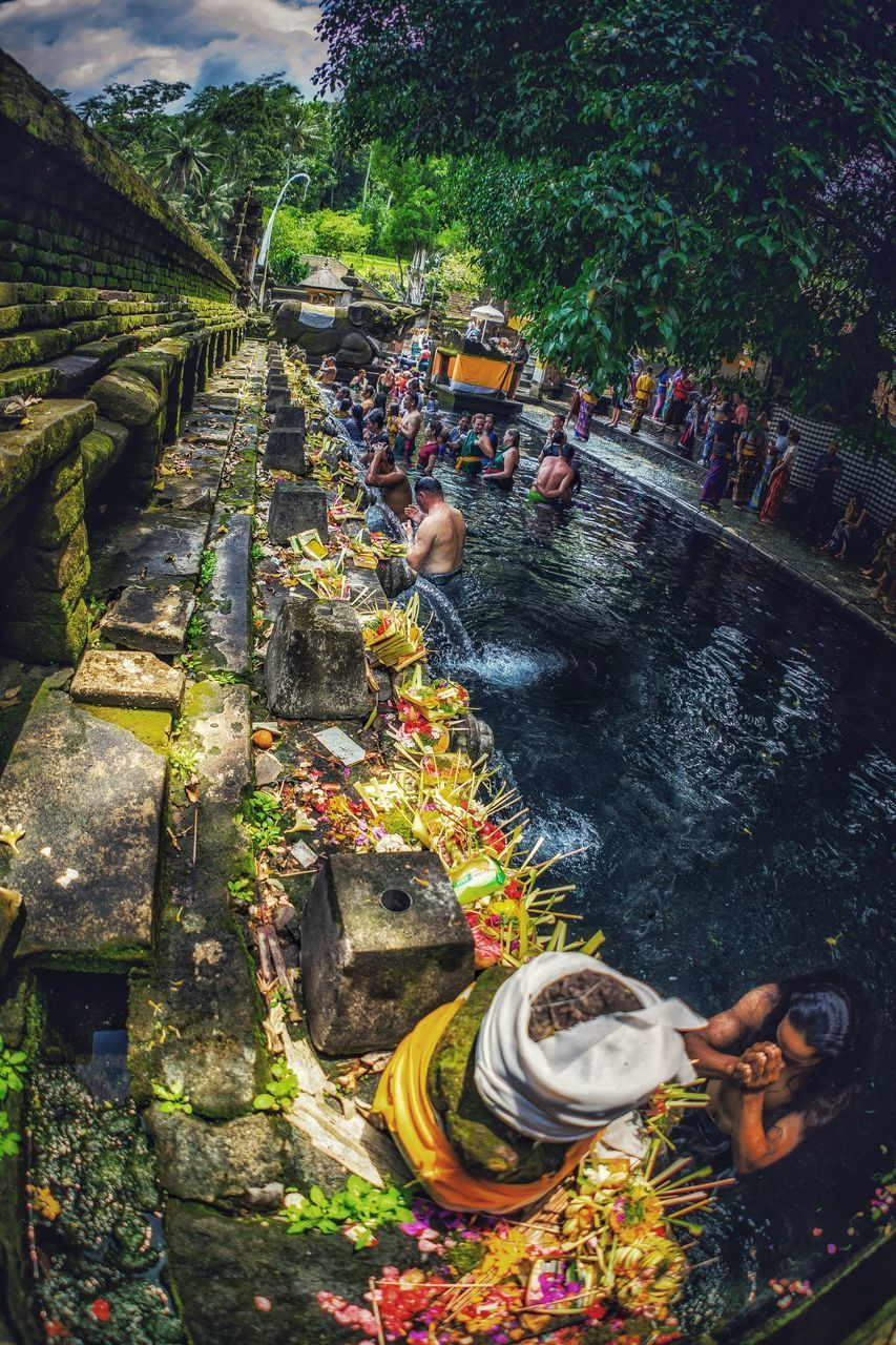 water, group of people, real people, plant, day, nature, large group of people, tree, crowd, men, high angle view, architecture, women, adult, lifestyles, outdoors, built structure, travel