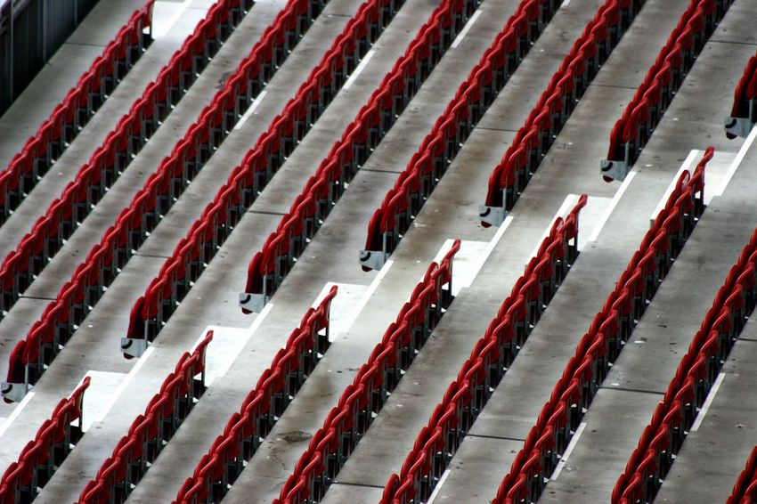 Red High Angle View Chair Stadium No People Empty Chairs Timeless