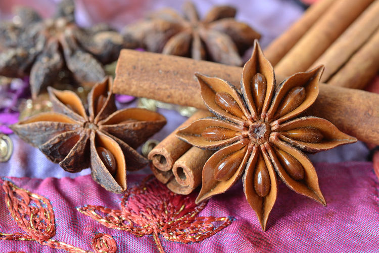 Close-up of star anise and cinnamons