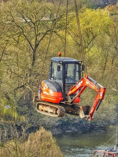 Excavator Hanging On Chain In Forest