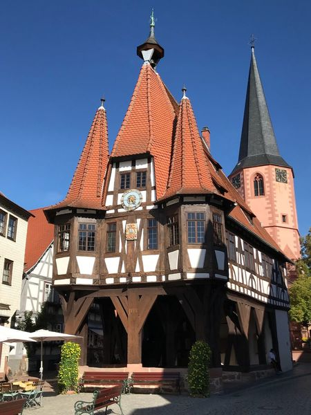Historic town hall of Michelstadt AMP PICTURES Architecture Built Structure Building Exterior Building Sky Clear Sky Place Of Worship Blue Day No People Sunlight Low Angle View Outdoors Tower