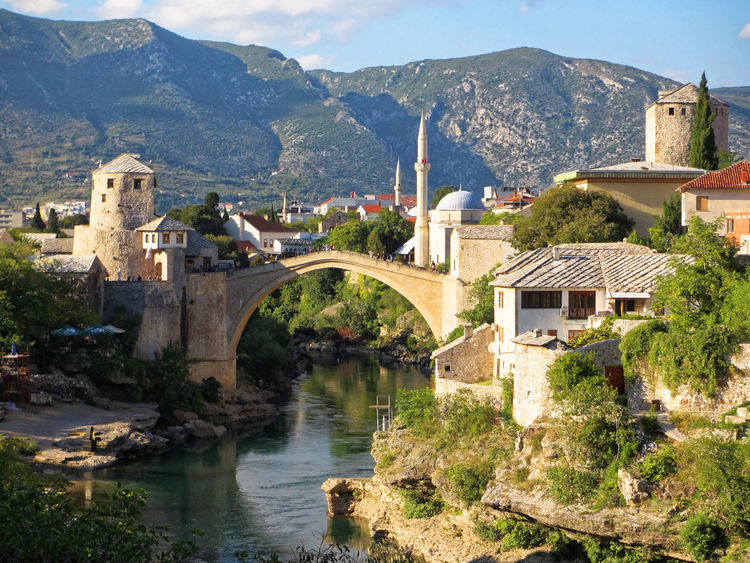 Mostar Bosnia And Herzegovina Mostar Mostar Bridge Temples Architecture Bridge - Man Made Structure Building Exterior Built Structure Town