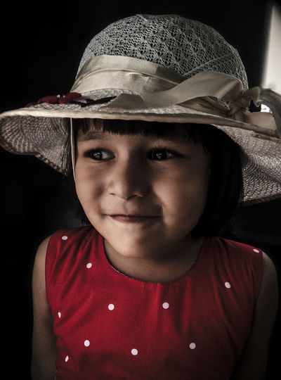 Close-Up Of Girl Wearing Hat