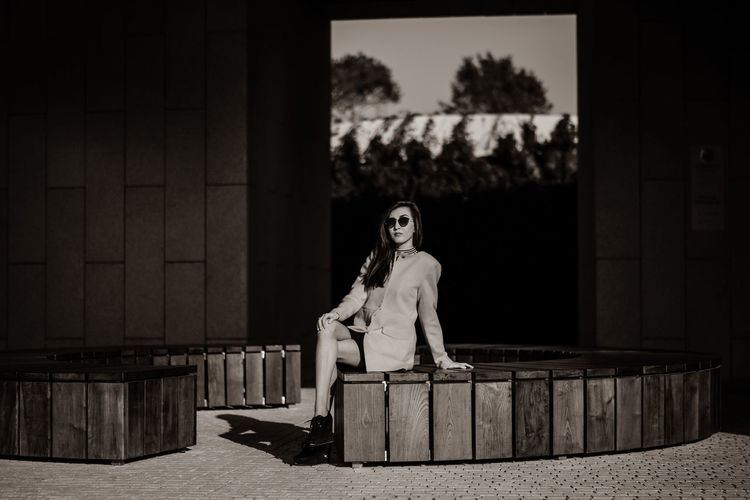 Black & White Adult Architecture Beautiful Woman Beauty Black Black And White Blackandwhite Built Structure Day Fashion Fashion Model Focus On Foreground Full Length Leisure Activity Lifestyles One Person Outdoors People Portrait Real People Sepia Tree Young Adult Young Women