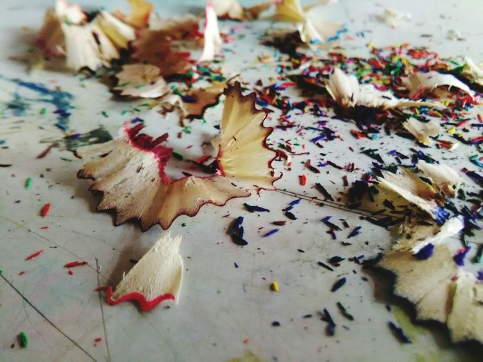 Close-Up Of Pencil Shavings On Table