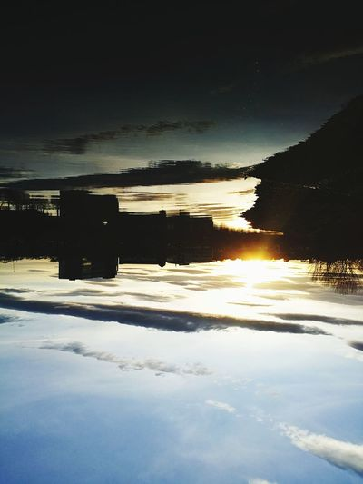 Up Side Down River Sky Sunset No People Nature Reflection Outdoors Water River Side River View Reflections In The Water Sunsets Cloud - Sky Skyline Reflection In The Water Reflections And Shadows Light And Shadow Light And Shadow Outdoor Photography Contrast In Nature