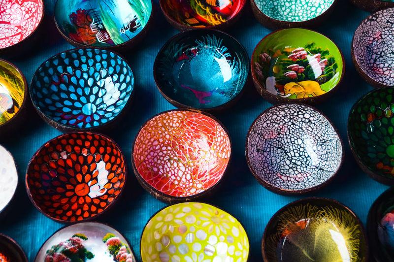 Full frame shot of multi colored bowl for sale