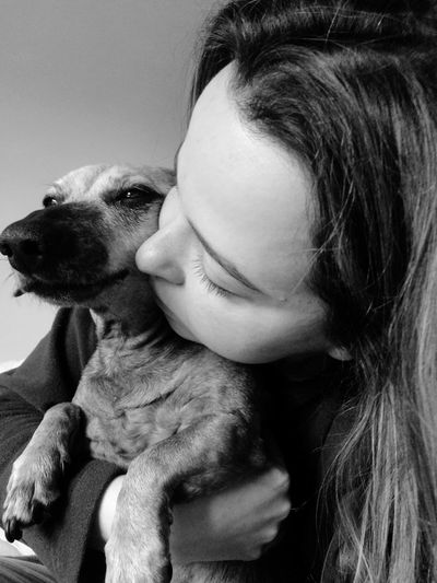 Dog Love Sausagedog Dachshund Love Senior Dog Cuddles Friendship Friends ❤ Sisters Bonding Black And White Photography Black And White Simple Photography Dog Canine Pets Headshot Indoors  Portrait Pet Owner Close-up Domestic Animals Young Women