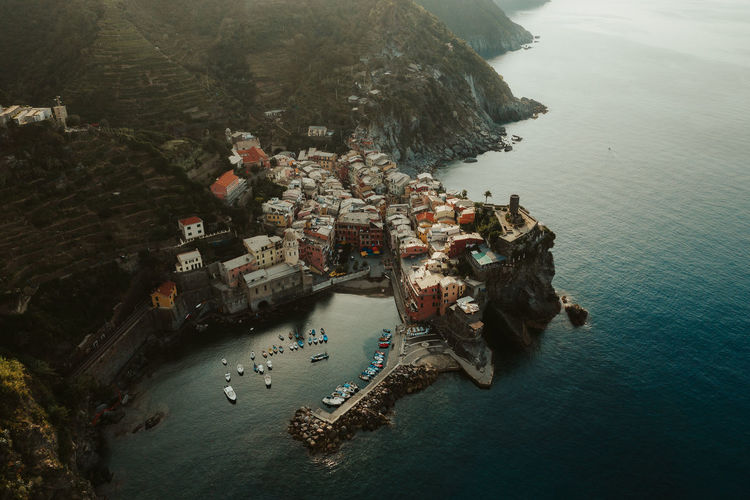 Vernazza during sunset. Cinque Terre Drone  Italia Mavic 2 Pro Aerial View Architecture Building Exterior City Dji Drone Photography High Angle View Italy Land Mode Of Transportation Nature Nautical Vessel No People Outdoors Sea Tranquility Transportation Vernazza Water Waterfront Week On Eyeem Autumn Mood