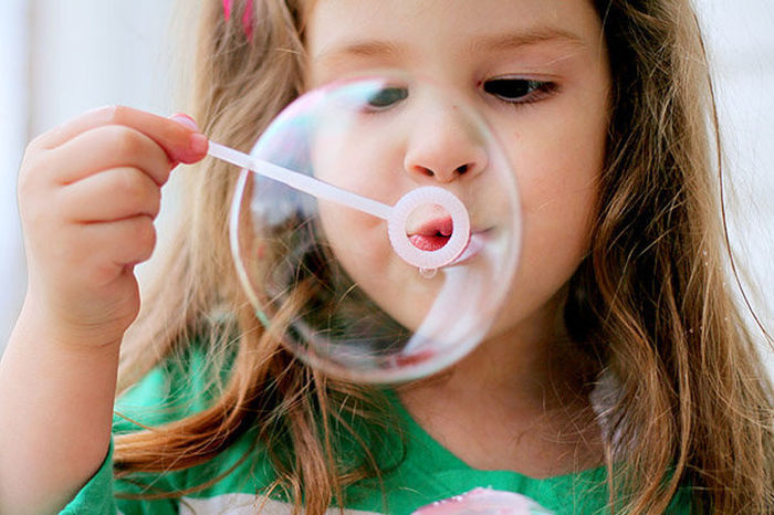 Blond Hair Bubble Wand Bubbles Cheerful Child Children Only Front View Fun Girls Holding Human Body Part One Girl Only One Person People