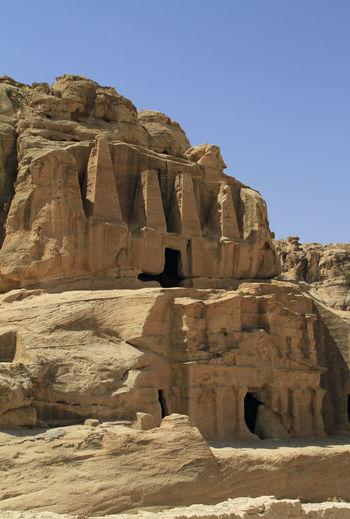 Carved into solid rock - building at petra, jordan